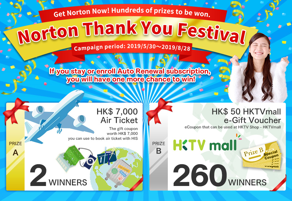 Norton Thank You Festival. Get Norton Now! Hundreads of prizes to be won.